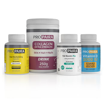 Hair Loss Supplement Set - Hair Booster Plus 120 Capsules for Fuller and Thicker Hair, Hair Revitalising 60 Capsules To Increase Hair Growth, Collagen Extra Strength to Strengthen Hair & Vitamin D 1000 IU 300 Capsules to improve immunity