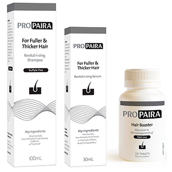Propaira Hair Loss Shampoo 100ml & Serum 30ml & 120 Hair Booster Tablets for fuller and thicker hair